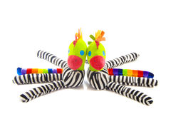 Colored zebra. Zebra toy isolated on a white background Stock Photos