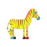 Colored zebra. Colorful zebra. Colorful stripes on body of anima Stock Images