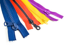 Colored zippers Stock Photo