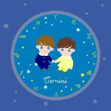 Colored zodiac circle with cartoon characters vector image stock illustration
