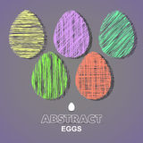 ColoredEggs. Abstract colored eggs on the gray background. Vector illustration Stock Photo