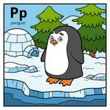 Coloree el alfabeto para los niños, pingüino de la letra P