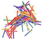 Coloree el arte de madera del palillo del helado y el fondo abstracto Foto de archivo libre de regalías