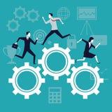 Coloree el crecimiento del negocio del fondo con los hombres de negocios que corren en engranajes del mecanismo ilustración del vector