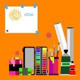 Coloree el extracto del vector de la brocha colorido Foto de archivo libre de regalías