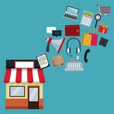 Coloree el fondo con la tienda con la flotación en línea de las compras del toldo y de los iconos stock de ilustración