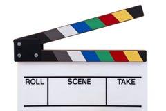 Coloree el frente del clapperboard Imagenes de archivo