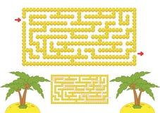 Coloree el laberinto rectangular Playa amarilla con las palmeras en estilo de la historieta Juego para los cabritos Rompecabezas  ilustración del vector