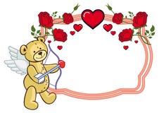 Coloree el marco con las rosas y el oso de peluche con el arco y las alas, miradas Imagen de archivo