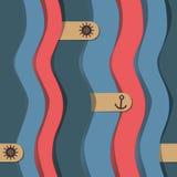 Coloree el modelo con las ondas, ancla, timón Fotografía de archivo