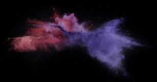 Coloree el polvo estallado, aislado en el ambiente del control Imágenes de archivo libres de regalías