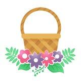 Coloree la cesta con las flores en un fondo blanco Fotos de archivo