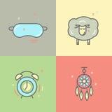 Coloree la colección de línea aislada iconos con problemas del sueño y símbolos del insomnio stock de ilustración