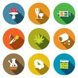 Coloree la colección plana del icono de las drogas stock de ilustración