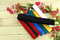 Coloree la correa del arte marcial en el piso de madera Imagen de archivo