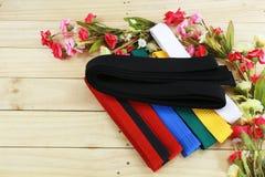 Coloree la correa del arte marcial en el piso de madera Imágenes de archivo libres de regalías