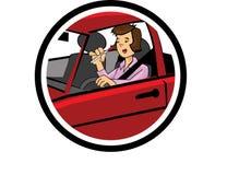 Coloree la historieta de la conducción y del maquillaje de una mujer Fotografía de archivo