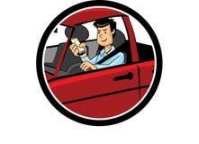 Coloree la historieta de un hombre que conduce y que manda un SMS Imagen de archivo