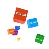 COLOREE la palabra en los cubos coloreados, concepto creativo del negocio Imagenes de archivo