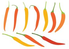 Coloree la pimienta de chiles amarillo-naranja en el ejemplo blanco del fondo libre illustration
