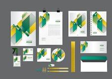 Coloree la plantilla de la identidad corporativa del follaje para su negocio Imágenes de archivo libres de regalías