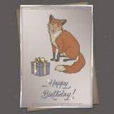 Coloree la plantilla romántica de la tarjeta de cumpleaños del vintage del formato A4 con bosquejo de la caja de la caligrafía, d Imagenes de archivo