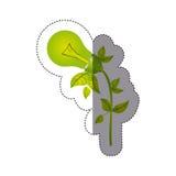 coloree la silueta de la etiqueta engomada con la bombilla con las hojas e inclinada al lado izquierdo Fotografía de archivo libre de regalías