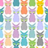 Coloree la textura inconsútil del gato Modelo de gatos lindos Fondo del animal doméstico Imagen de archivo