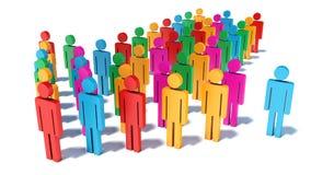 Coloree las figuras de la gente en la forma de la flecha que mueve encendido su manera Imagen de archivo libre de regalías