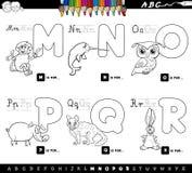 Coloree las letras educativas del alfabeto de la historieta del libro ilustración del vector