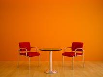 Coloree las sillas del rojo de las cortinas Fotos de archivo