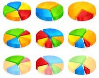 Coloree los diagramas circulares Imagen de archivo libre de regalías