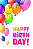 Coloree los globos brillantes del feliz cumpleaños Imágenes de archivo libres de regalías