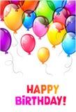 Coloree los globos brillantes del feliz cumpleaños Imagen de archivo