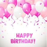 Coloree los globos brillantes del feliz cumpleaños Vector Imágenes de archivo libres de regalías