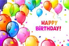 Coloree los globos brillantes del feliz cumpleaños Vector Imagen de archivo