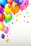 Coloree los globos brillantes del feliz cumpleaños Vector foto de archivo