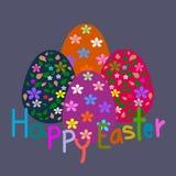 Coloree los huevos de Pascua, flor del modelo, tarjeta de felicitación de Pascua de la plantilla Fotografía de archivo libre de regalías