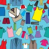 Coloree los iconos de la ropa inconsútiles Imágenes de archivo libres de regalías