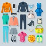 Coloree los iconos planos de la ropa de la mujer fijados stock de ilustración