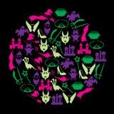 Coloree los iconos simples del tema de los cuentos de hadas en círculo Foto de archivo libre de regalías