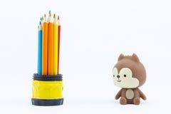 Coloree los lápices aislados en el cierre blanco del fondo para arriba Fotografía de archivo libre de regalías