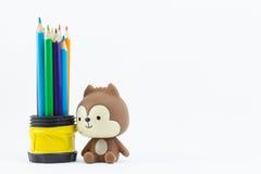 Coloree los lápices aislados en el cierre blanco del fondo para arriba Imágenes de archivo libres de regalías