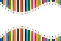 Coloree los lápices aislados en el fondo blanco con el espacio de la copia Foto de archivo libre de regalías