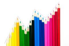 Coloree los lápices arreglados en curva de la onda Imagen de archivo