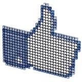 Coloree los pulgares pixeled encima del símbolo del Internet aislados Fotografía de archivo