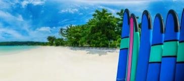 Coloree los tableros de resaca en una pila por el océano Foto de archivo libre de regalías