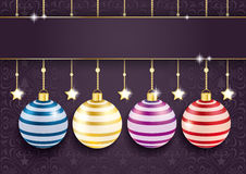 Coloreed Baubles Stars Purple Ornaments Royalty Free Stock Photos