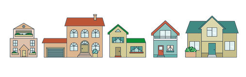 Coloreful houses. Modern illustration. Stock Photos
