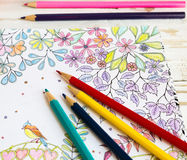 Colorer book - antistress. With colored pencils Royalty Free Stock Photo